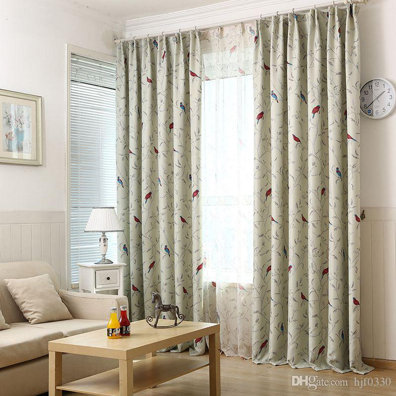2017 200*260cm Pastoral Style Birds Window Curtains For