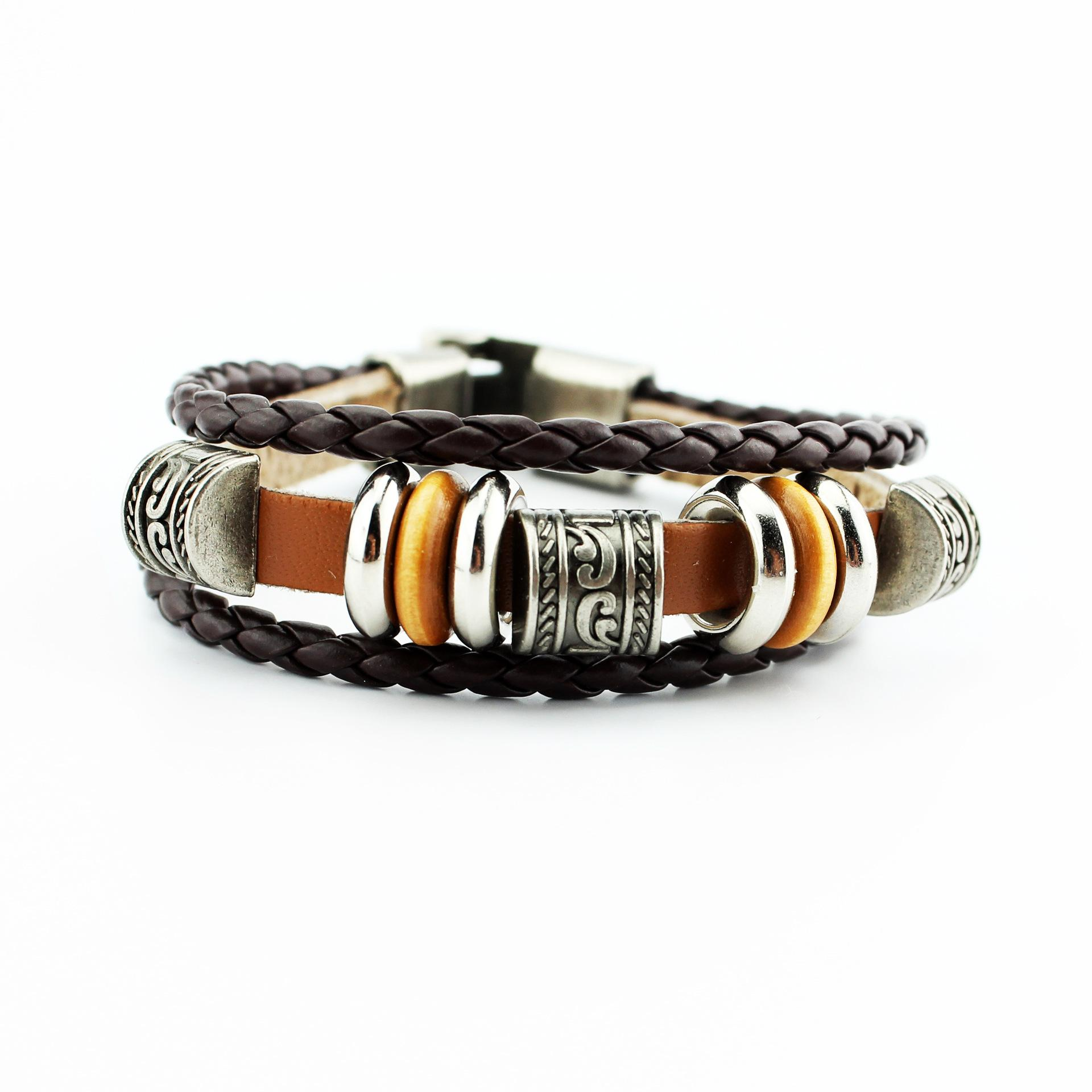 Men s Retro Woven Beaded Bracelets Alloy Leather Charm Bracelets