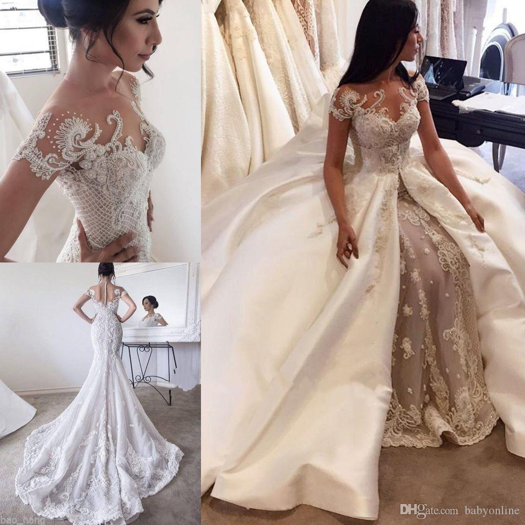 2016 Luxury New Overskirts Wedding Dresses Lace Pearls