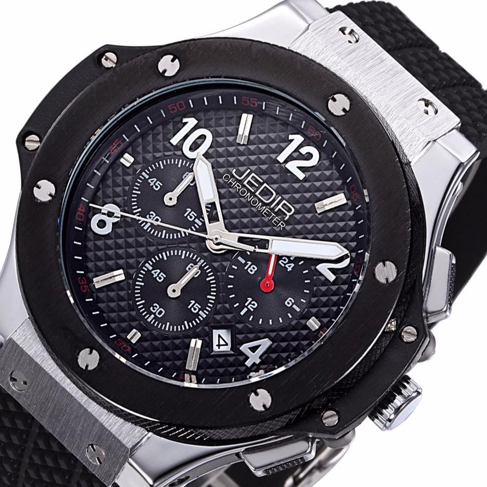 Wrist watches brands for mens - Jedir Watch Men Chronograph Quartz Watch Mens Watches Top Brand Luxury Outdoor Sports Analog Rubber Wristwatch