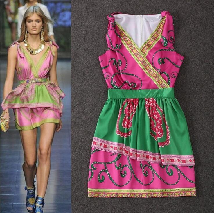 Summer Runway Designer Boutique Dress Women&39s High Quality V-Neck ...
