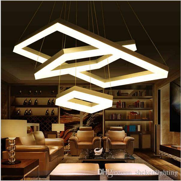Discount Modern Led Pendant Lights For Dining Room Living Room Rectangle Acry