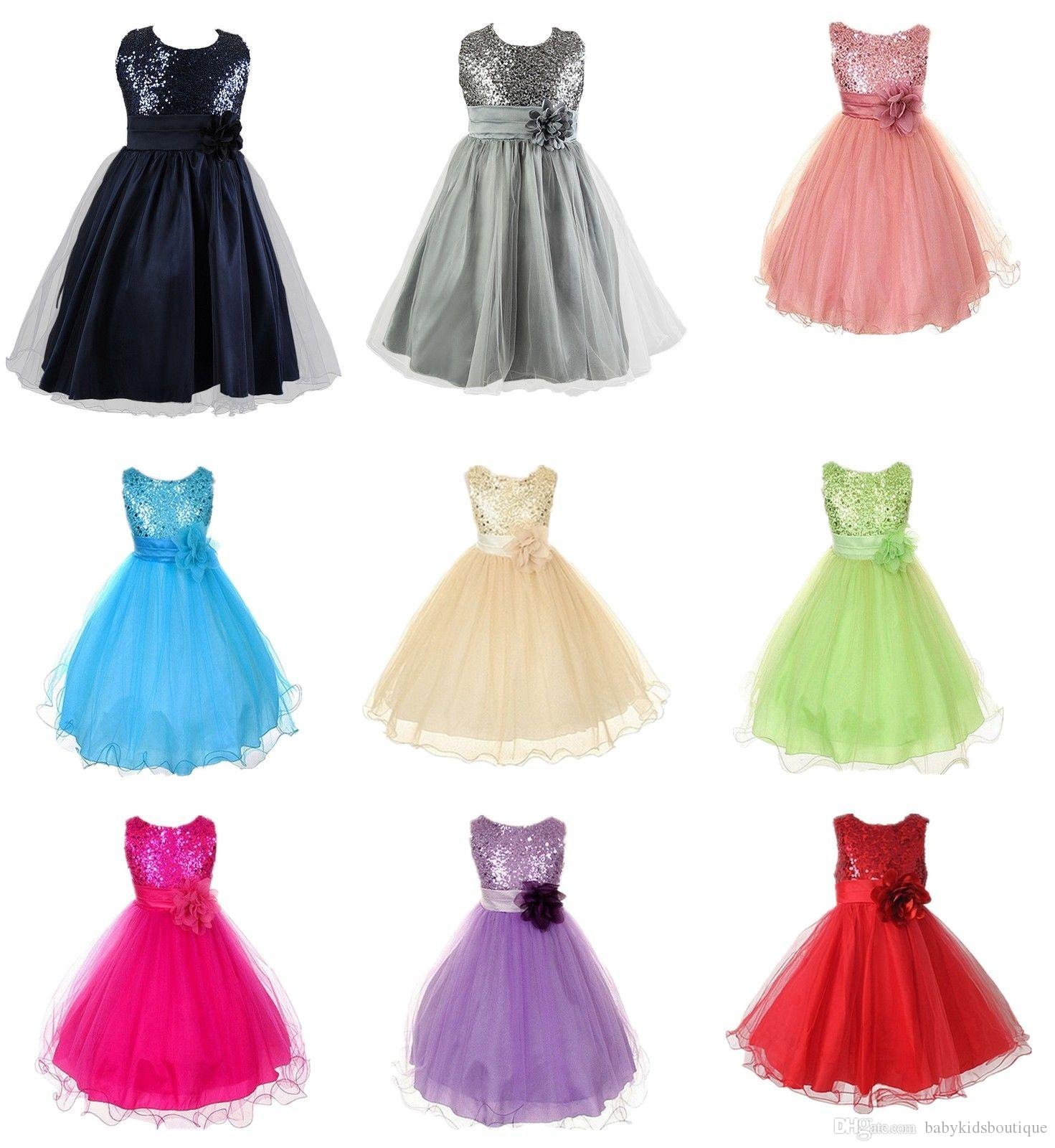 2016 New Party Dresses Girls Dresses Girls Polyester Sequins ...