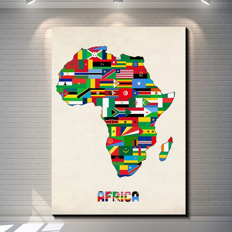 African Home Decor Vintage African Countries Flags Pictures Painting Canvas Poster Painting Print Hotel Bar