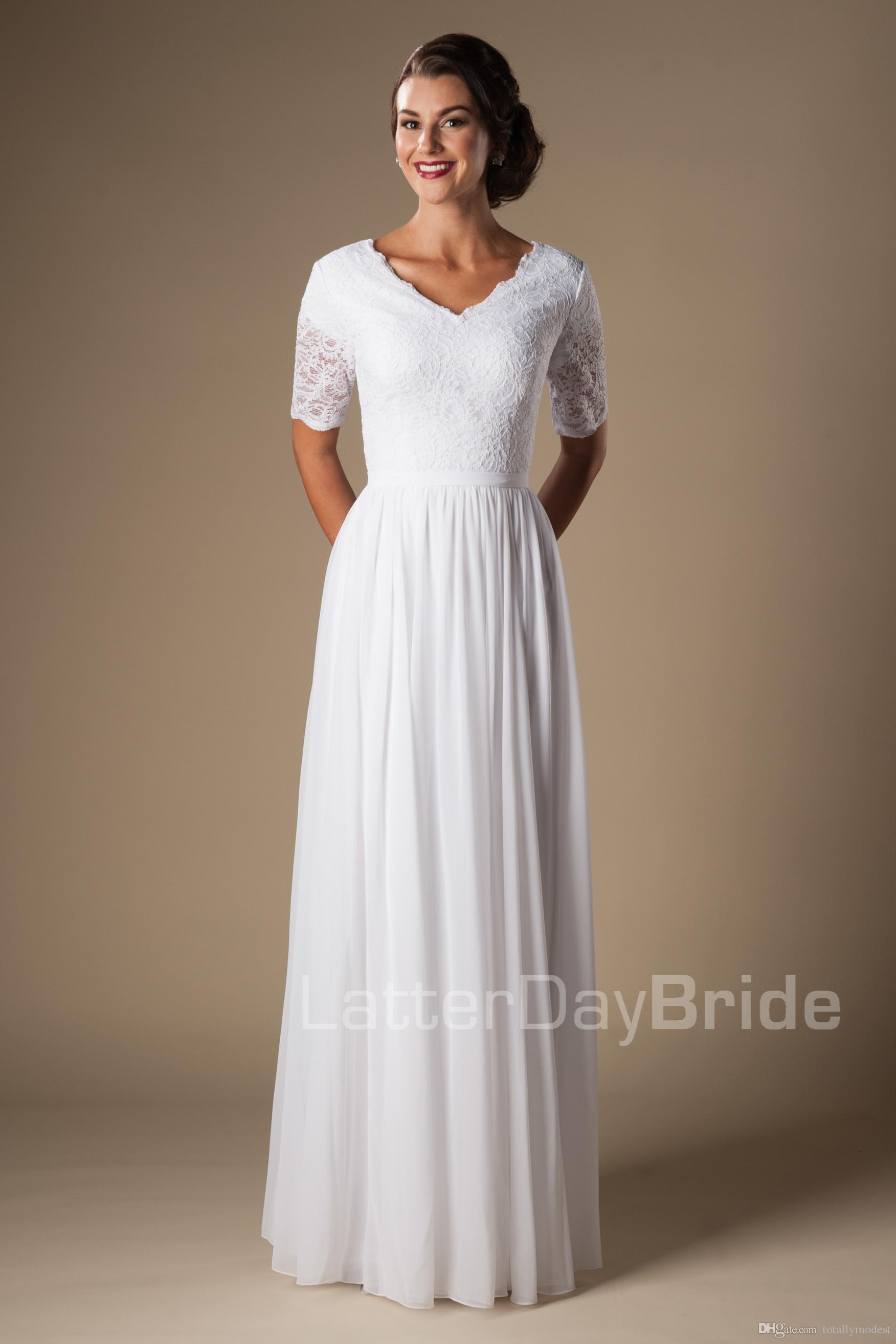 2016 vintage ivory lace chiffon modest wedding dresses with 12 2016 vintage ivory lace chiffon modest wedding dresses with 12 sleeves v neck temple bridal gowns informal bridal dress custom made cheap wedding dresses ombrellifo Choice Image