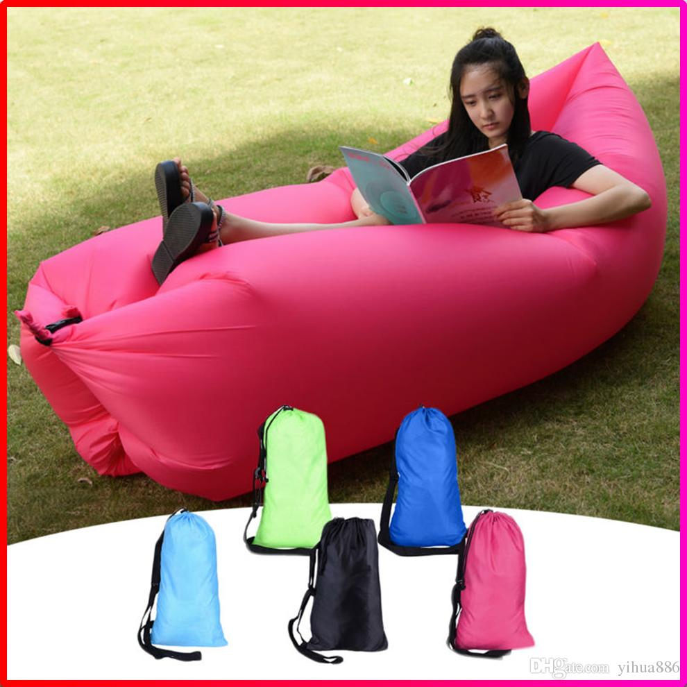 Outdoor Garden Inflatable Air Sofa Bed Chair Sleeping Bag Portable Camping Be