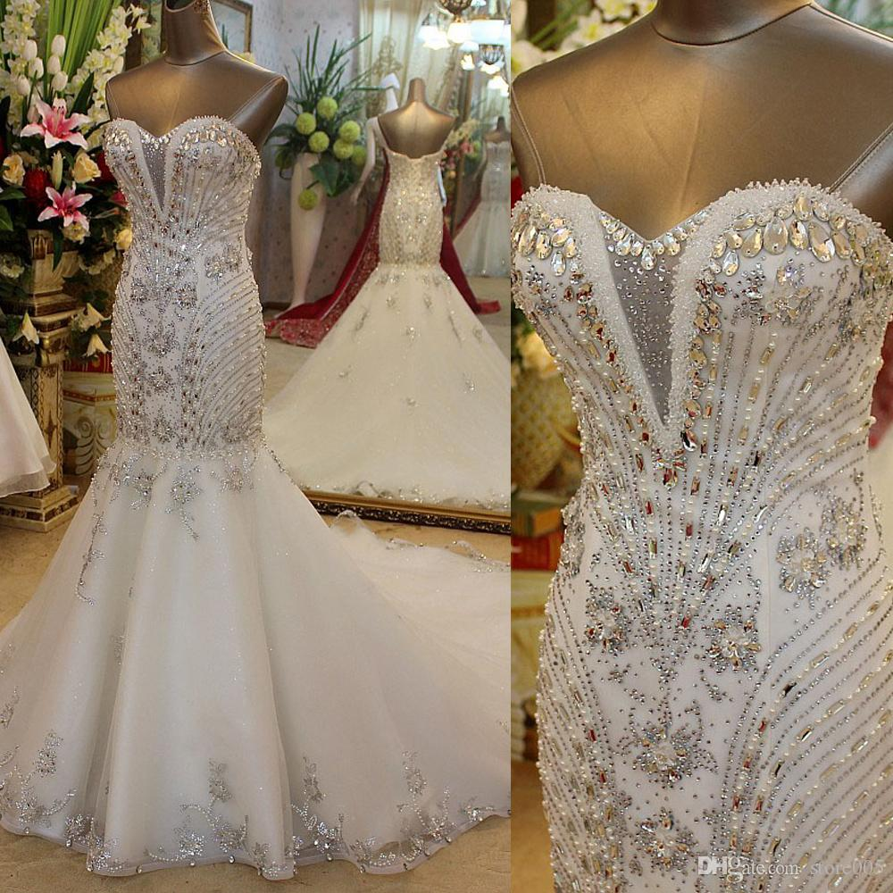 Real photo luxury crystals strapless mermaid bridal for Bling corset mermaid wedding dresses