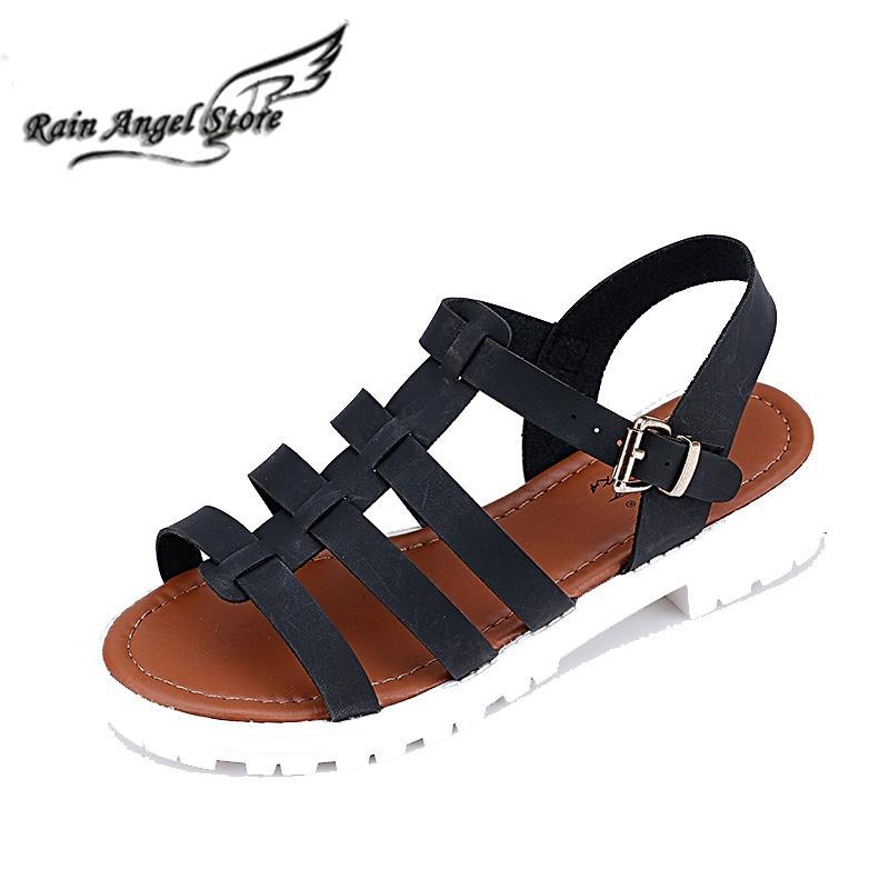 Casual roman shoes fish head women 39 s sandals flat heel for Fish head shoes