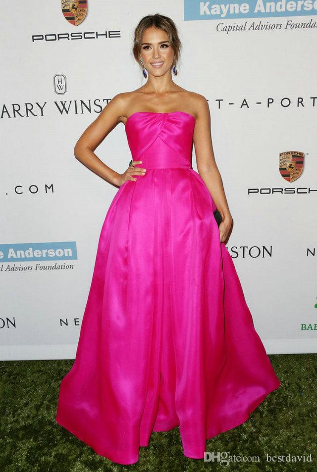 Jessica Alba Reem Acra 2016 Fuchsia Celebrity Dresses For Women ...