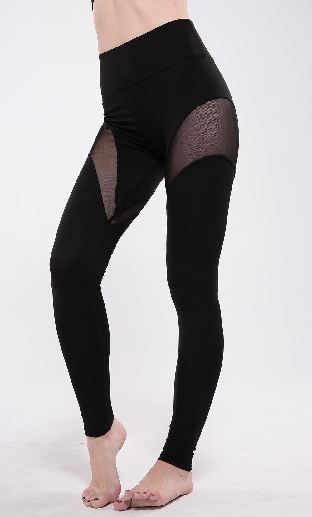 2017 Women Sexy Slim Sheer Mesh Sports Fitness Yoga Leggings ...