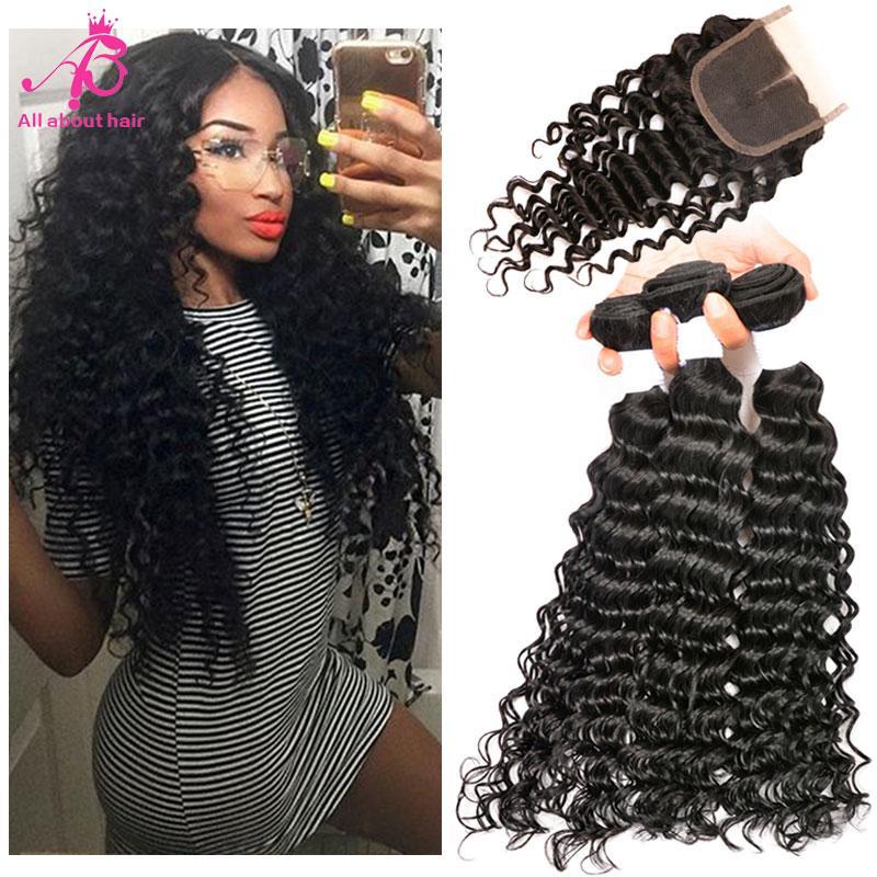 Brazilian Deep Wave Hair 3bundles With Lace Closure Wet