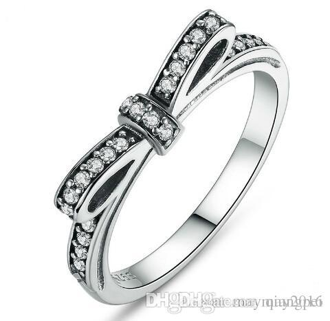 100 925 sterling silver sparkling bow knot stackable pandora ring wedding jewelry for women elegant - Pandora Wedding Rings