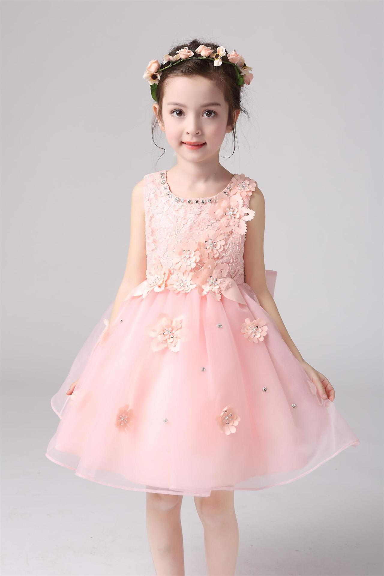 2016 Cheap Girls Lace Dress Princess Bridesmaid Flower