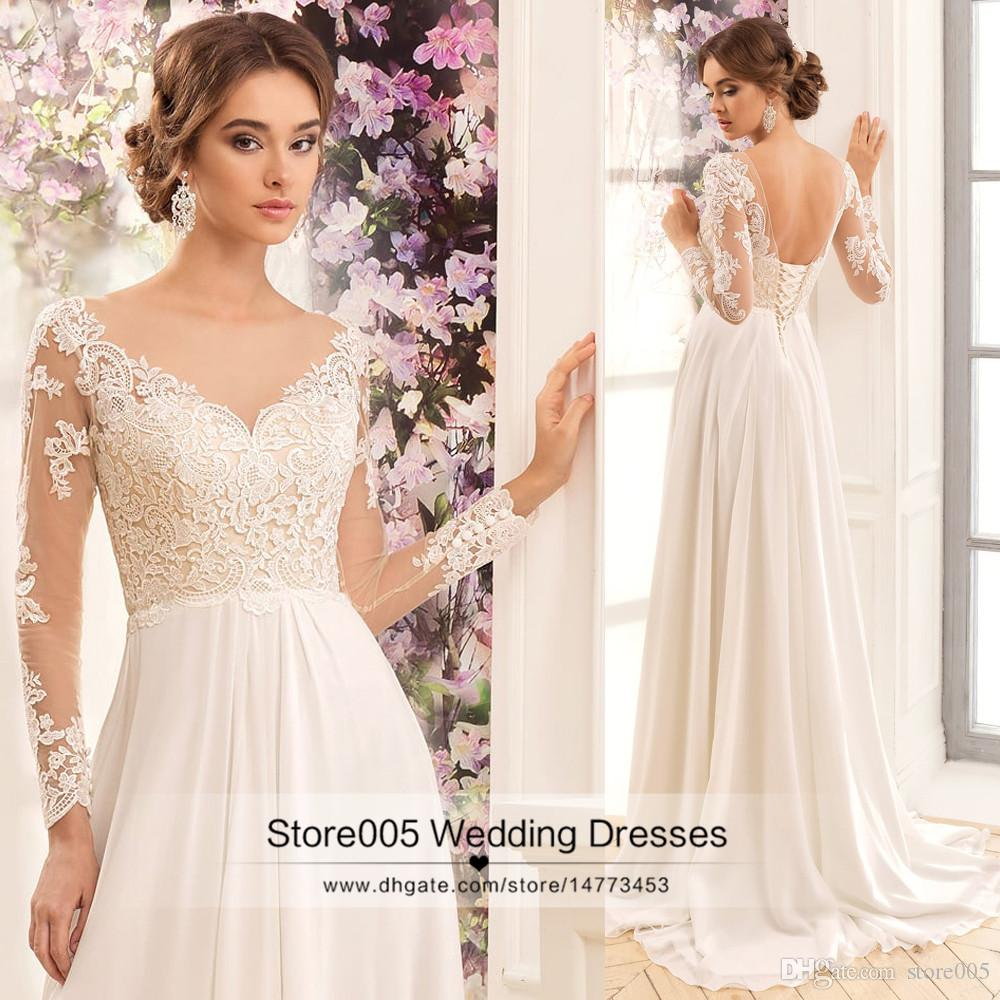 Cheap ivory beach wedding dresses long sleeve lace a line for Cheap ivory wedding dresses