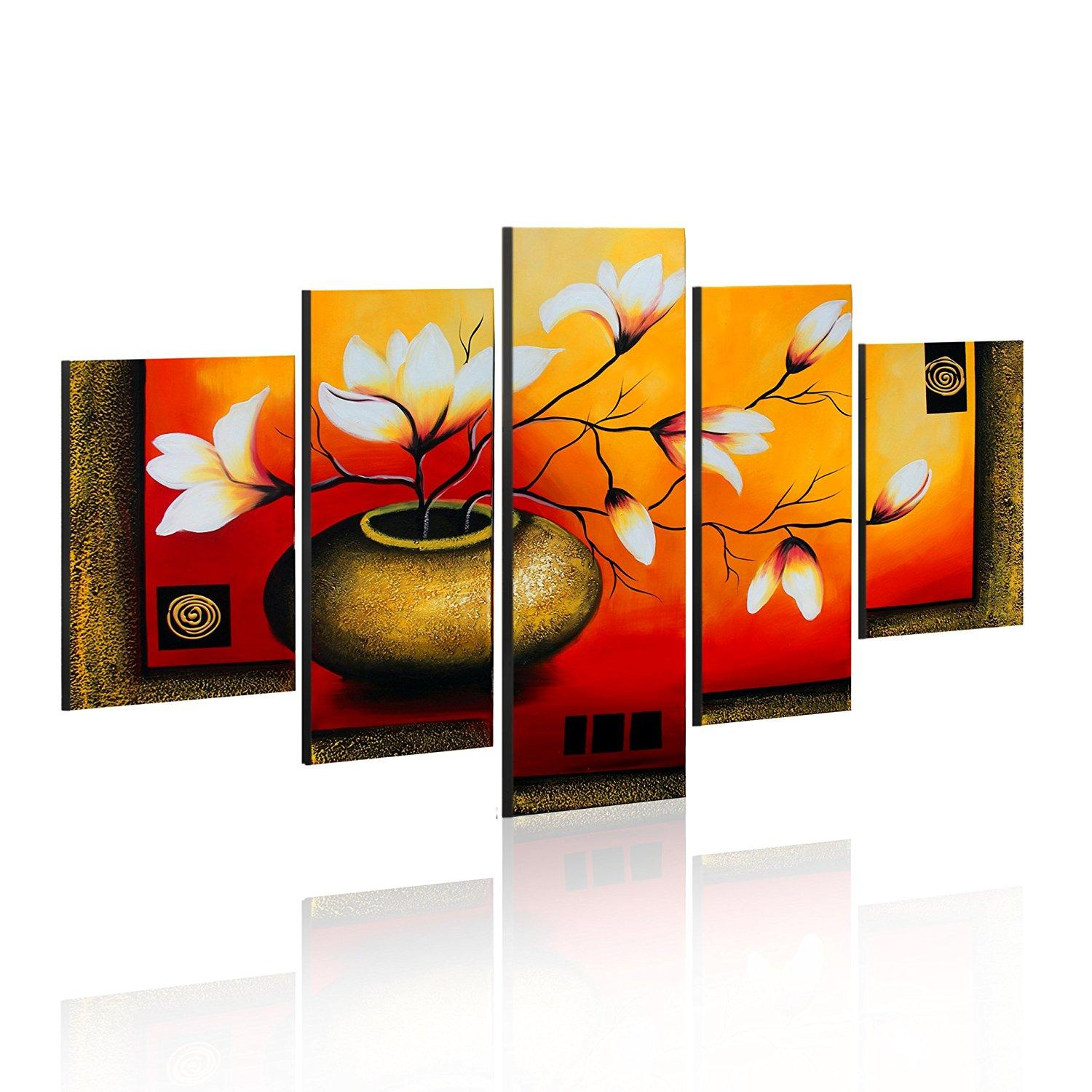 Wall art flower painting - Elegant Lily Flower Painting Wall Art Decor Framed Hand Painted Floral Oil Painting Ready To Hang Canvas Wall Art Flower Painting Decor Floral Art Online