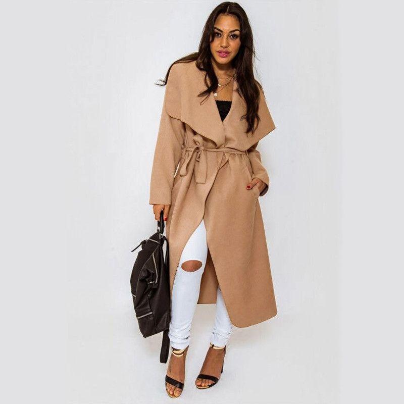 Women's Winter Long Wool Coat Drape-Front Long Sleeve Wrap Coats ...