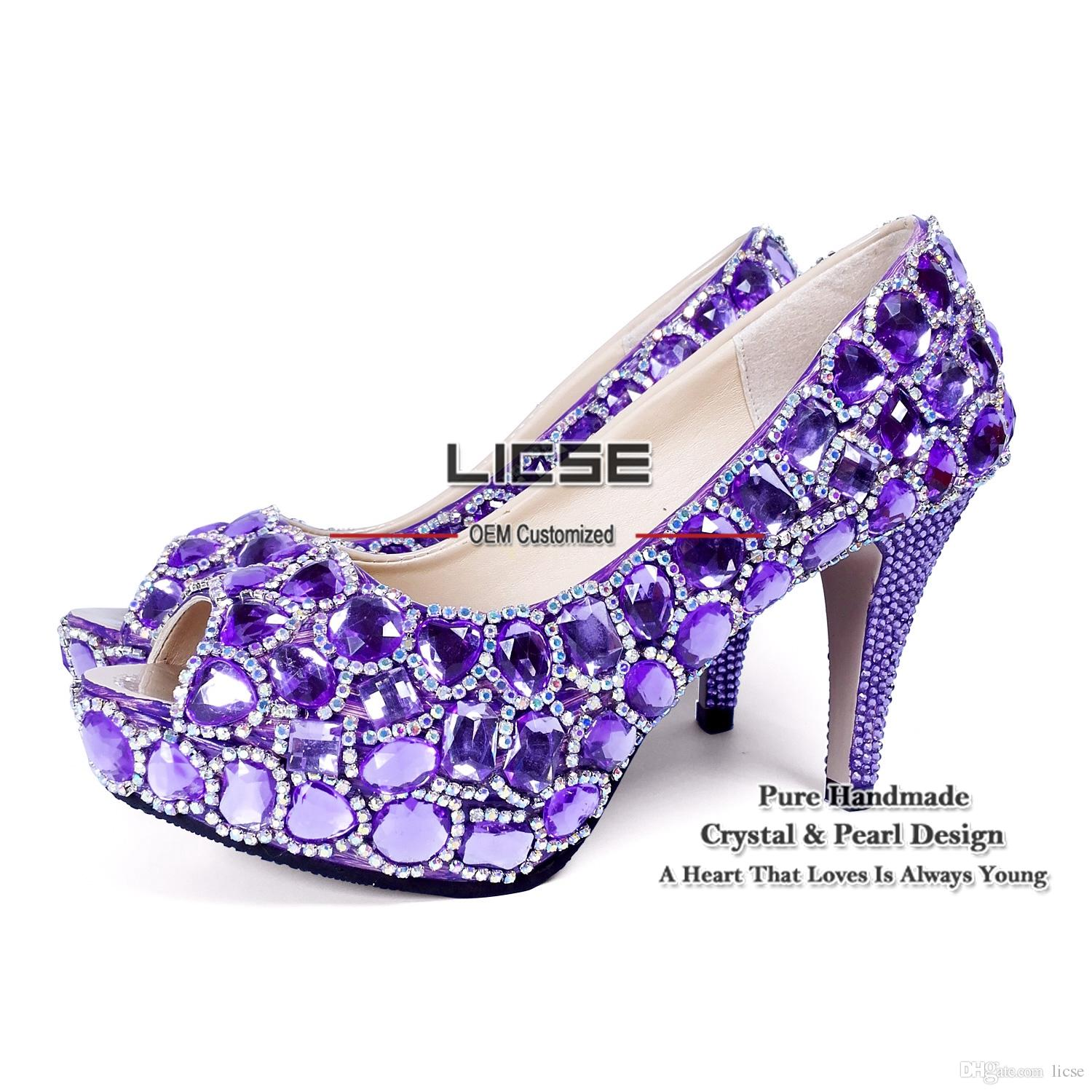 Purple high heels with diamonds
