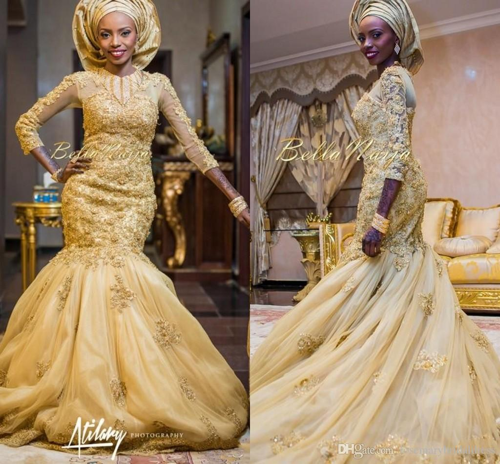 2016 Arabic Mermaid Gold Lace Wedding Dresses African