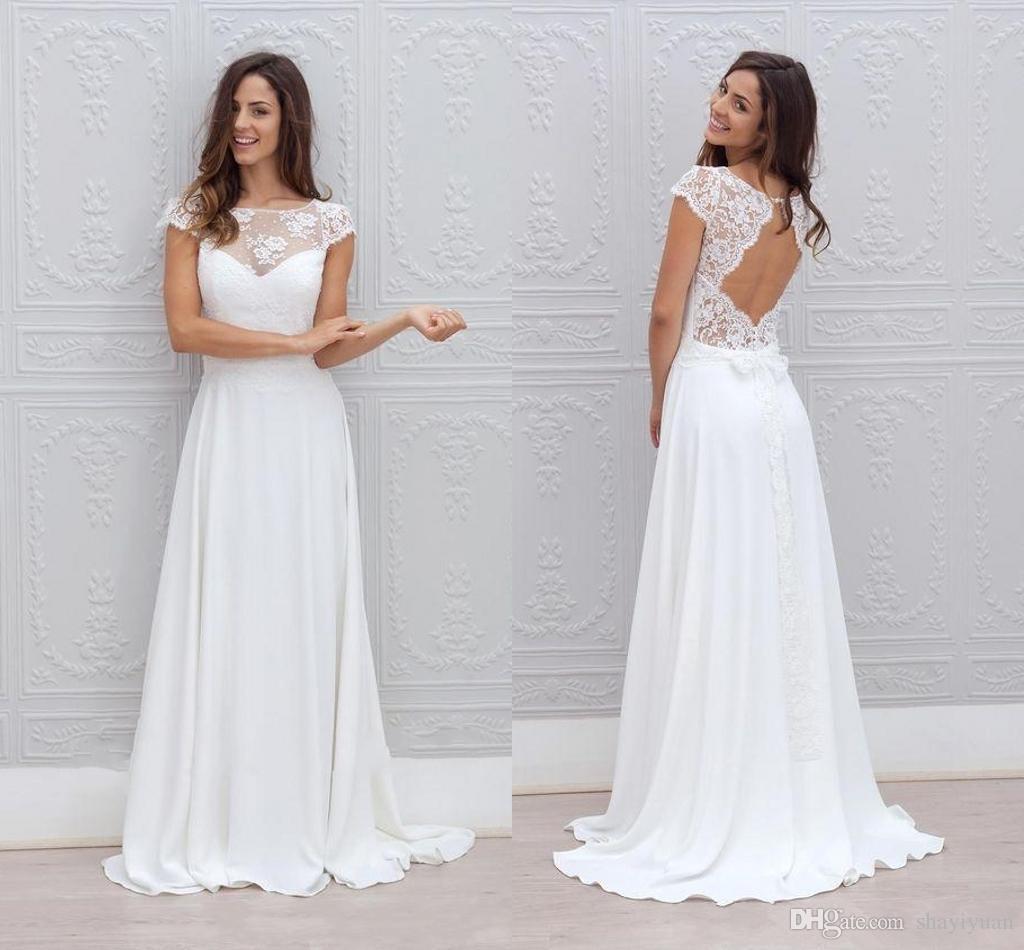 Modest Beach Wedding Dresses Cheap 2016 Lace Sheer Neck