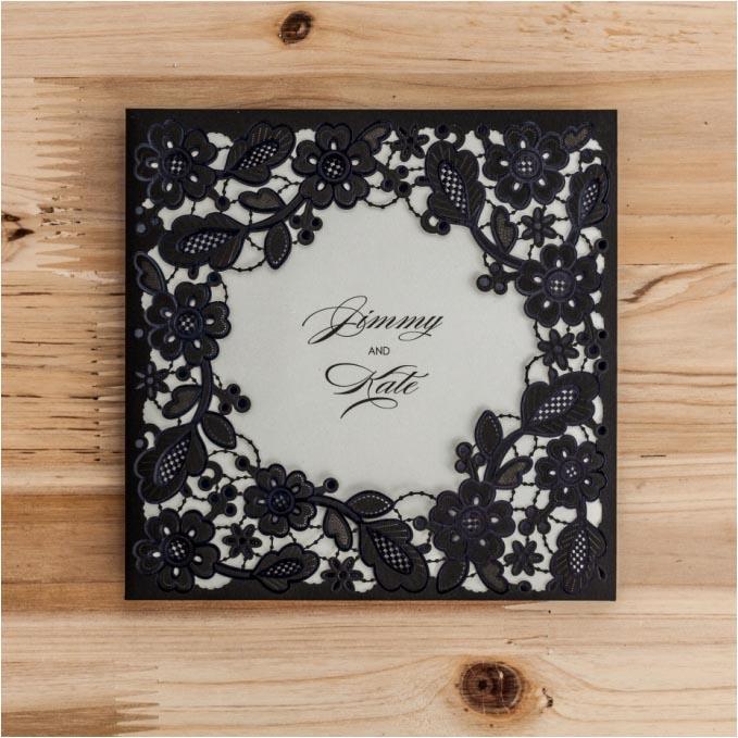 black square wedding invitations cards with envelope flower laser, Wedding invitations