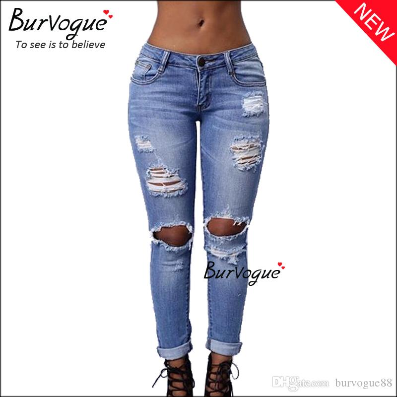 2017 Burvogue 2016 Casual Jeans For Women Skinny Jeans With Holes ...