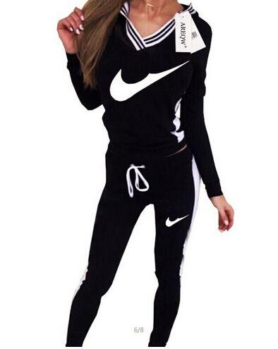 2016 Femmes Sport Suit Hoodie Sweatshirt + Pant Jogging Femme Marque  Survetement cc8f951f65ab