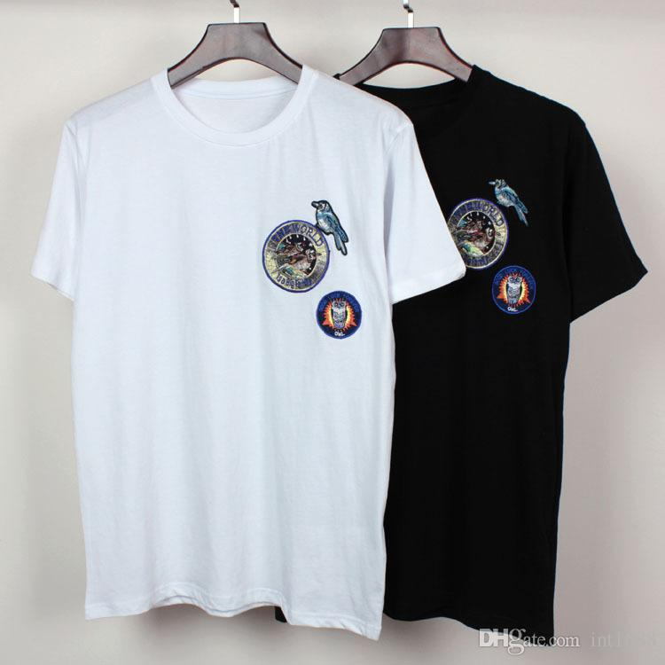 Designs mens t shirt embroidery the bird badge men