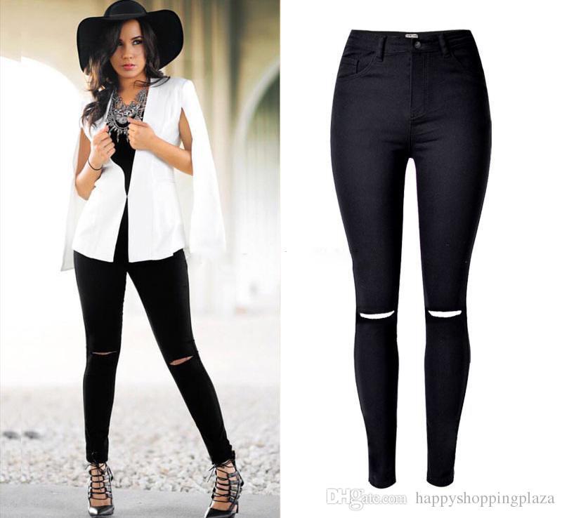Online Cheap New Women Black Cut High Waist Boot Cut Jeans Taille