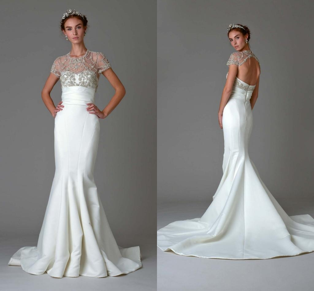 2016 Luxury Beaded Wedding Dresses Short Sleeves Crystal