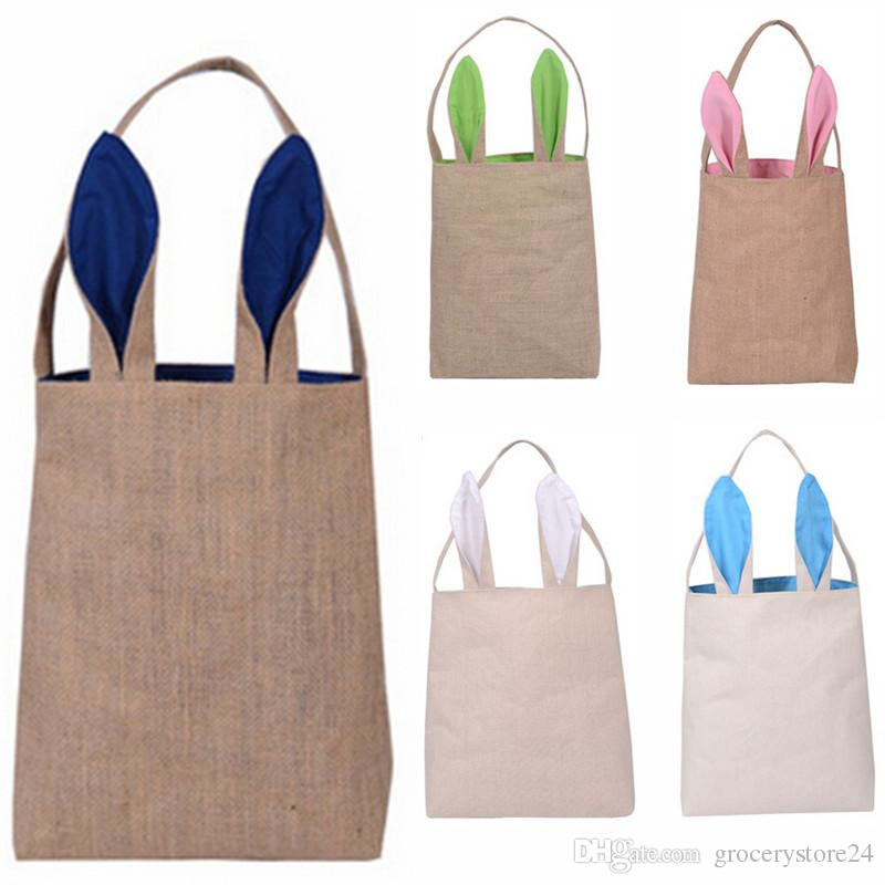 Cotton Linen Canvas Easter Egg Bag Rabbit Bunny Ear Shopping Tote ...