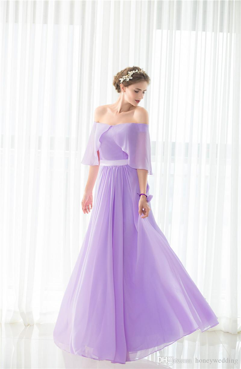 Elegant light purple bridesmaid dresses long under 50 off shoulder elegant light purple bridesmaid dresses long under 50 off shoulder draped chiffon wedding guest dress in stock cheap bridesmaids dress bridesmaid dresses ombrellifo Choice Image