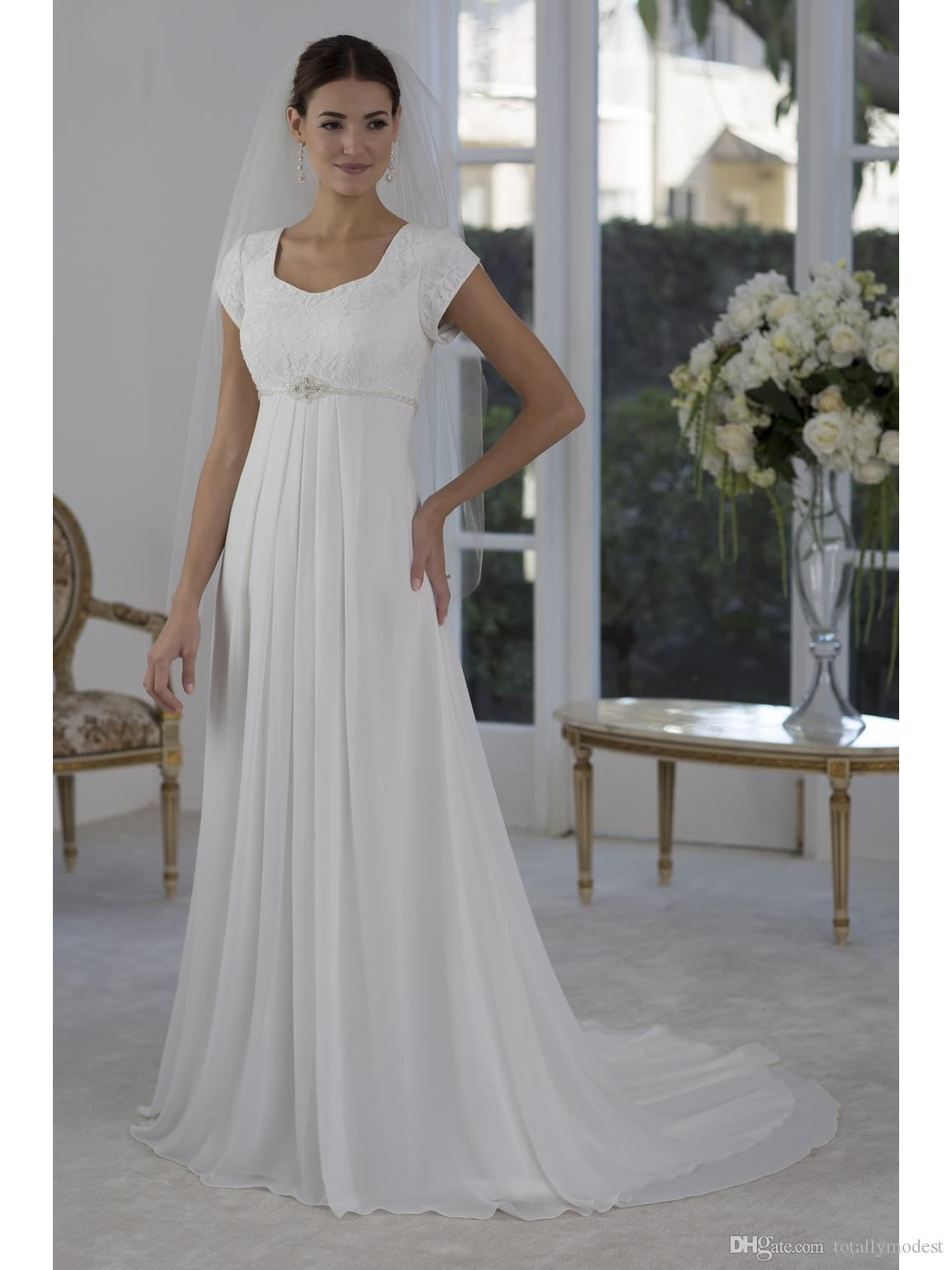 Simple Lace Chiffon Beach Maternity Modest Wedding Dresses