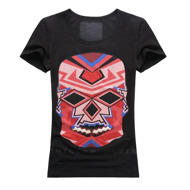 2016 Cool Femmes Fashion Stone Skull T-Shirts manches courtes Tee-shirts Blanc N