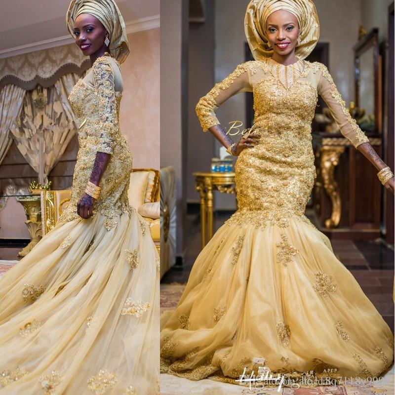 Gold African Wedding Dresses 119