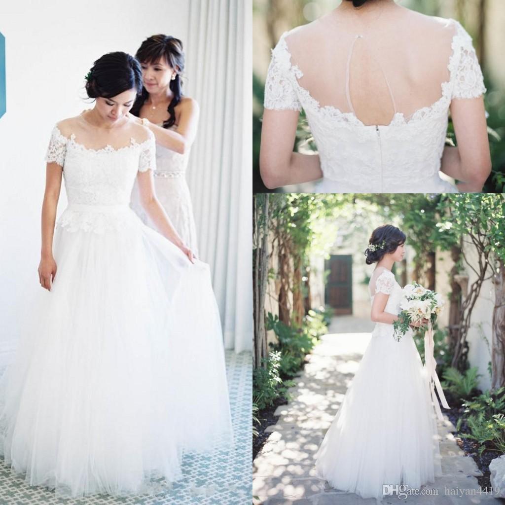 2016 cheap country summer beach wedding dresses jewel lace for Cheap summer wedding dresses