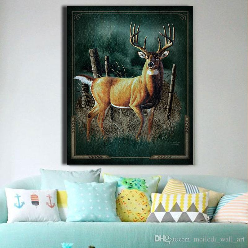 2017 One Panel Modern Deer Wall Art Cyan Painting On Canvas A Elk Deer In Chaparral Oil Painting Picture No Framed Home Decor For Living Room From