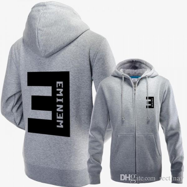 Eminem Zip-up Hoodie Jacket with BIG E Logo on the Back Cotton ...