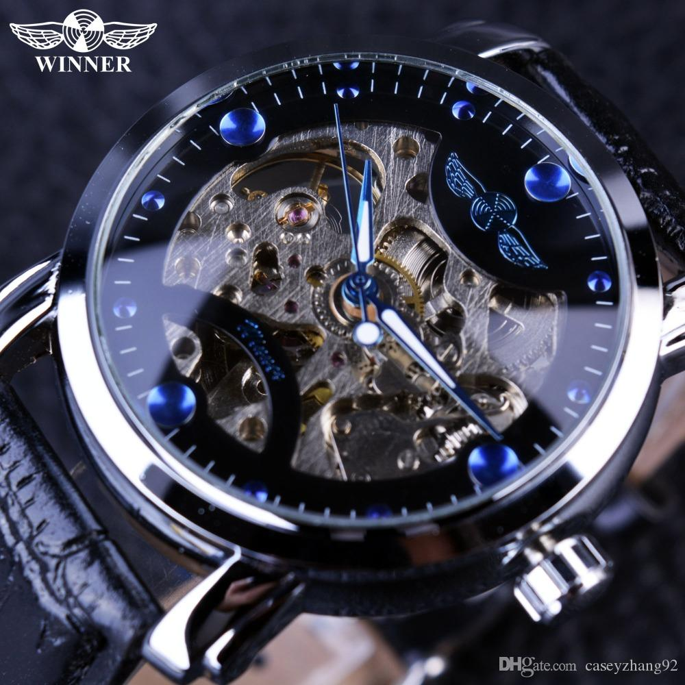 2017 new winner black skeleton designer blue engraving clock men winner black skeleton designer blue engraving clock men leather strap mens watches top