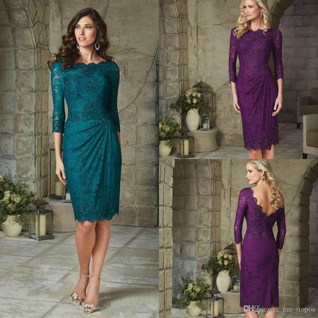 Modest Lace Knee Length Mother The Bride Dresses Purple