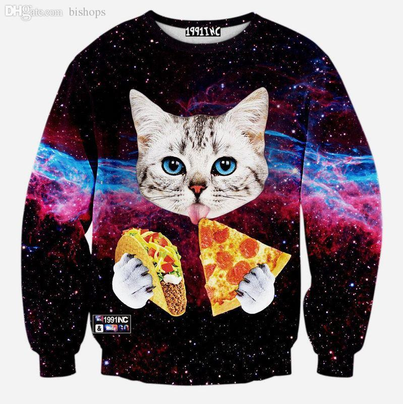 Gros-2016 Espace Galaxy Chat animal Mangez Pizza 3D Jumper Hoodies Pull Top Swea
