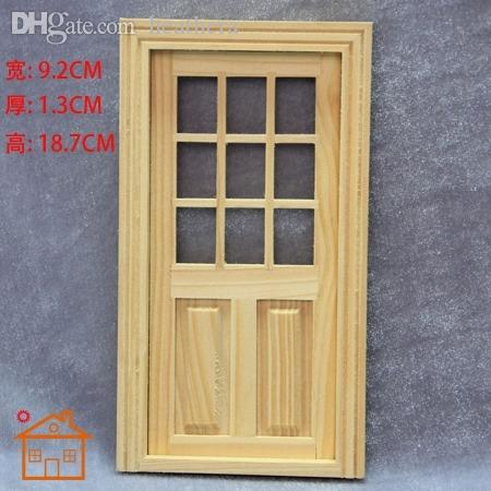 Wholesale 1 12 dollhouse door with window and frame for for Cheap front door and frame