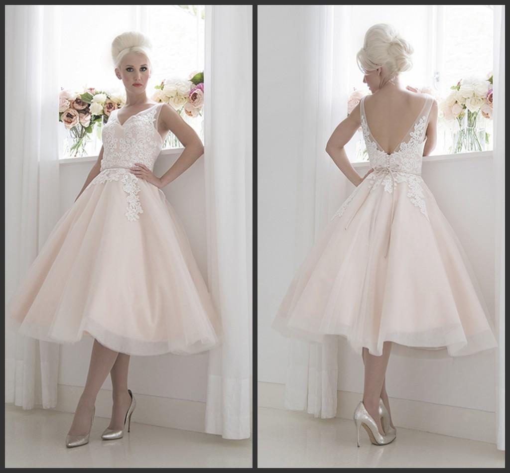 Discount Isadora Blush Calf Length Wedding Dresses Kr 2016 Ivory Lace Appliques V Neck Tulle