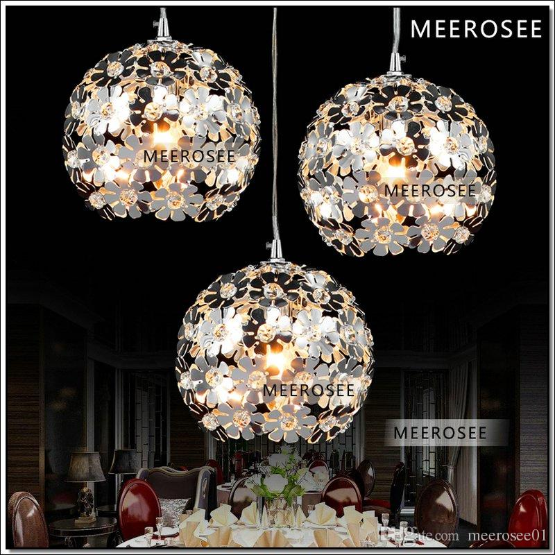 3 lights flower crystal pendant light modern crystal for Kit suspension luminaire