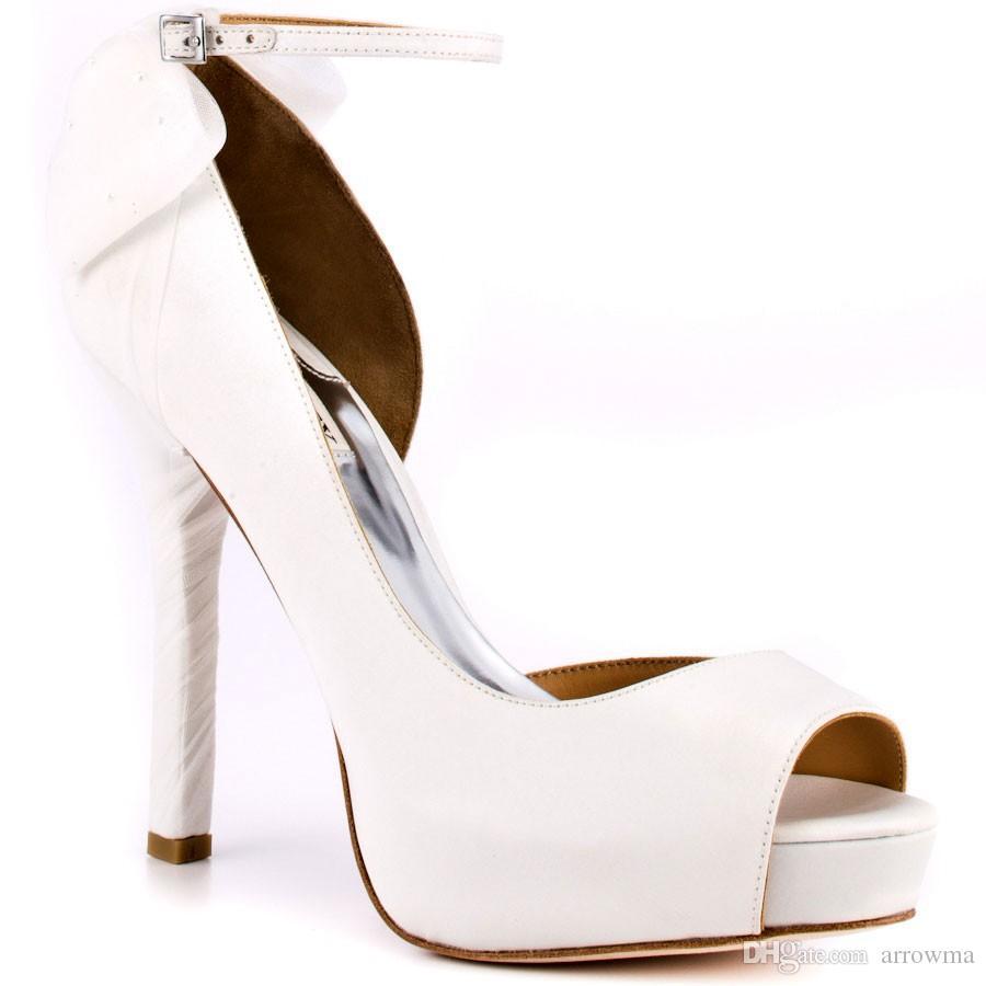 2016 white wedding shoes bridal shoes high heels buckle strap peep toe