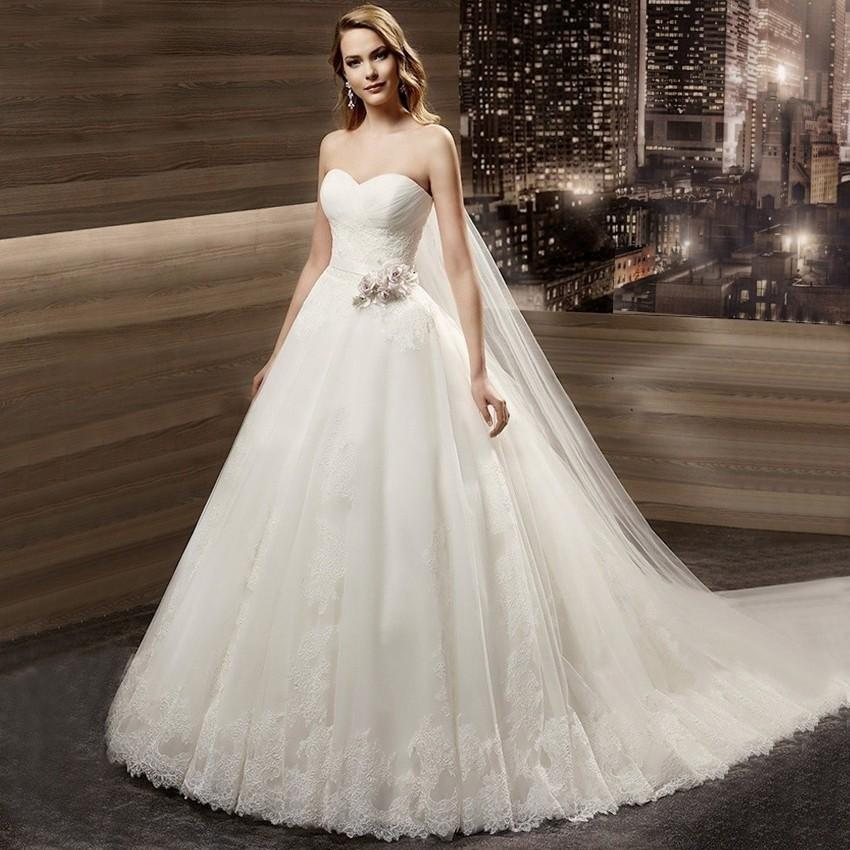 Romatic Wedding Dress A Line Sweetheart Lace Bottom Soft