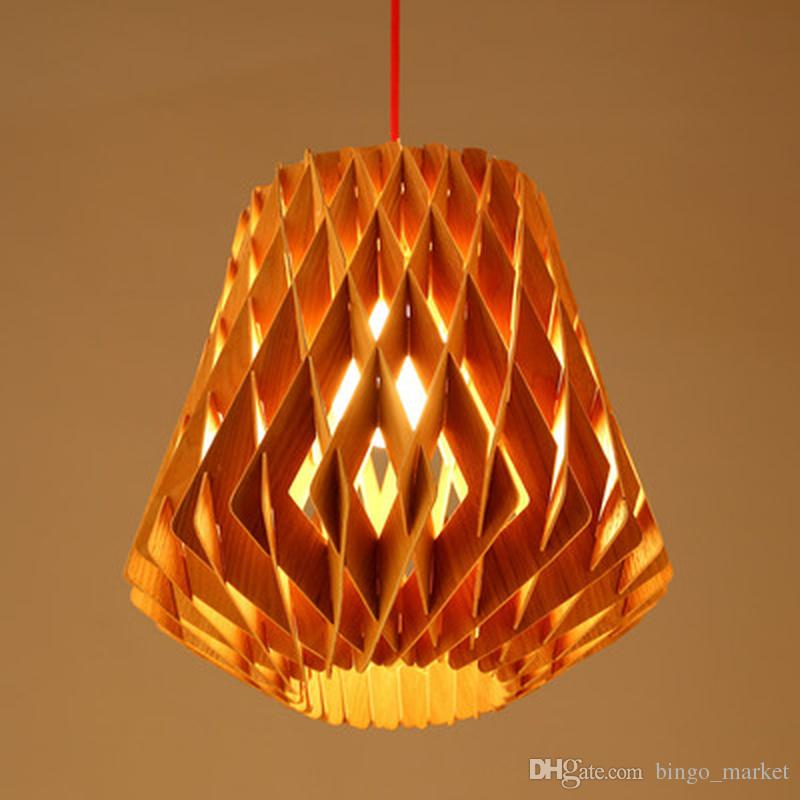 2017 handmade decorative lamps modern handmade diy wood led pinecone pendant lights home restaurant hanging rhombus - Decorative Lamps