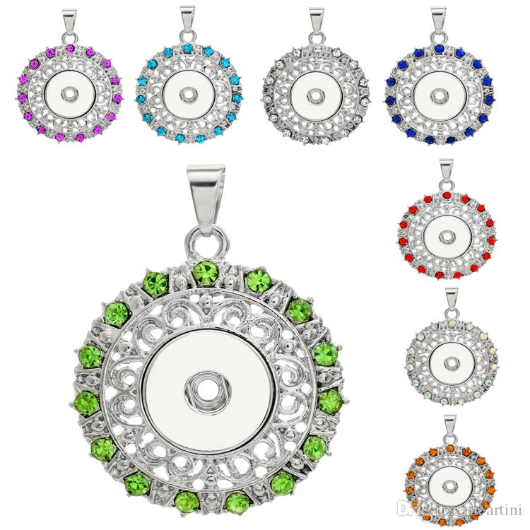 201607 Charm Pendentifs 8 Styles Round Snap bouton Jewelry Rhinestone Fit 18mm S