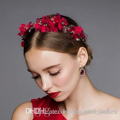 vintage red flower hair accessories wedding hair accessories for brides rose headpiece handmade wholesale brides head piece red flower hair accessories