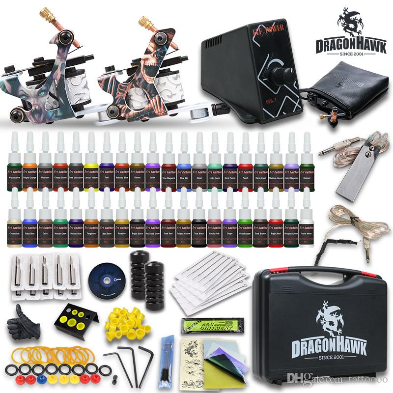 Complete tattoo kits 2 guns machines inks sets disposable for Cheap tattoo ink
