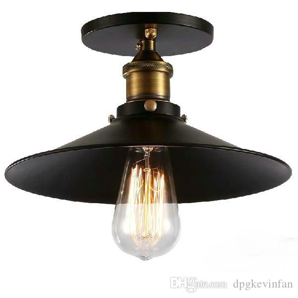 Black Industrial Light Part - 24: Industrial Retro Vintage Flush Mount LAMP Black Metal Shade Ceiling Pendant  Lamp Loft America Light Fixture Black Metal Shade Ceiling Light Flush Mount  ...